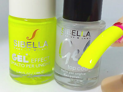 Gel Smalto Unghie Super Color Giallo Super Fluo + Top Coat Semipermanente No UV