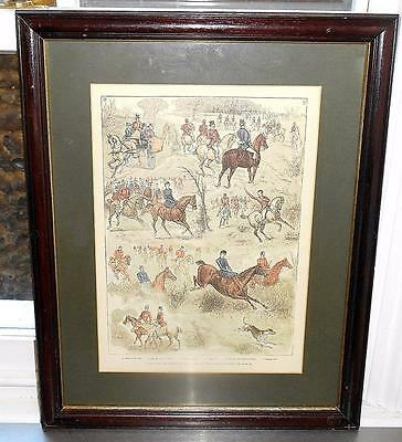 ANTIQUE VICTORIAN 'HUNTING' PRINT - ILLUSTRATED LONDON NEWS c.1880