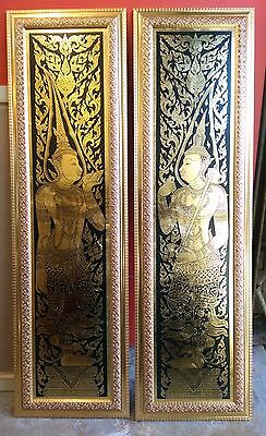 Leaf Foil Painting Modern Abstract Vintage Thai Art ancient Painting and Gilding