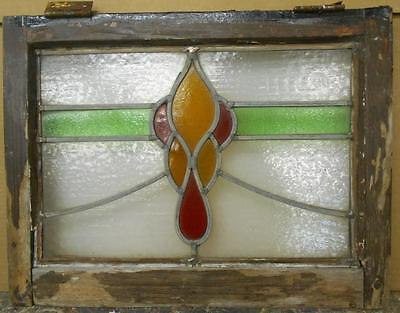 "OLD ENGLISH LEADED STAINED GLASS WINDOW Abstract Swag Design 21"" x 16"""