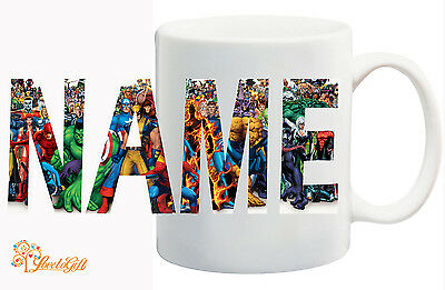 Marvel Personalized Logo Mug. Your Name, Spiderman, hulk, avengers, Xmen GIFT