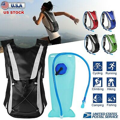 US Hydration Pack + 2L Water Bladder Bag Outdoor Sport Backpack Hiking Camping