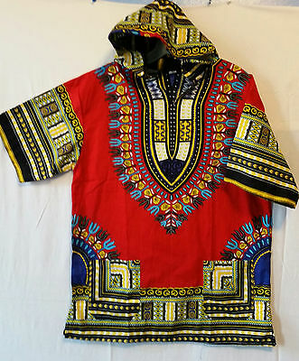 Men Women African Dashiki Hoodie Top W/ Hood Traditional Blouse Red M L XL