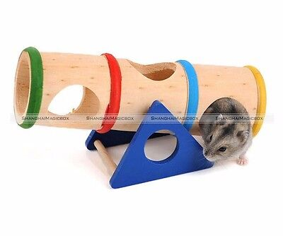 Natural Wooden Colorful Seesaw Cage House Hide Play Toy for Hamster Rat Mouse