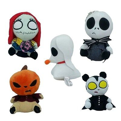 5pcs The Nightmare Before Christmas Jack Skellington Sally Plush Doll Keychain