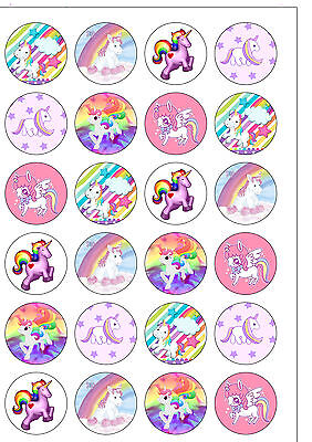 24 Edible Precut Cute Rainbow Unicorn Wafer Paper Cupcake Toppers Cake