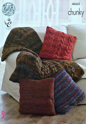 KNITTING PATTERN 2 Styles Cushions and Cable Throw Blanket Chunky King Cole 4665