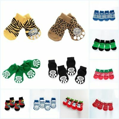 4 Pcs/set Small Dog Pet Indoor Warm Socks Skid Bottom Puppy Soft Anti-slip Socks