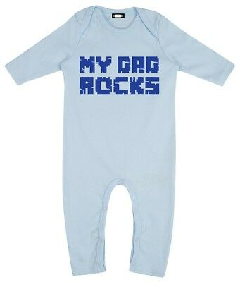 'My Dad Rocks' Baby Boys Playsuit in Sky Blue by Horeham Road - 100% Cotton BNWT