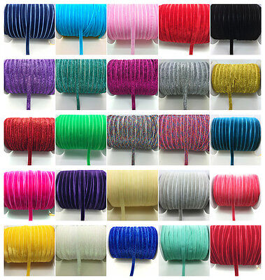 "New 5 10 50 yards 3/8 ""10mm Velvet Ribbon Headband Clips Bow Decoration U Pick"