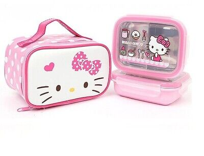 Hello Kitty Stainless Steel Lunch Box Food Storage Container Bento include Bag