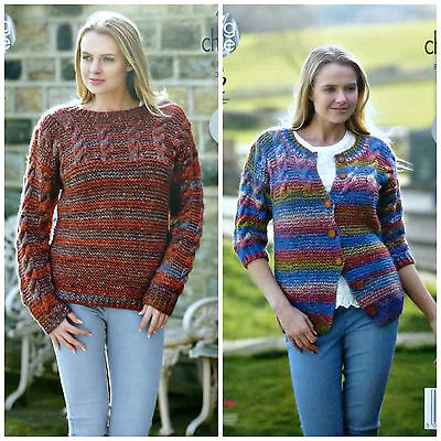 KNITTING PATTERN Ladies Easy Knit Cable/Garter Stitch Jumper/Jacket Chunky 4663