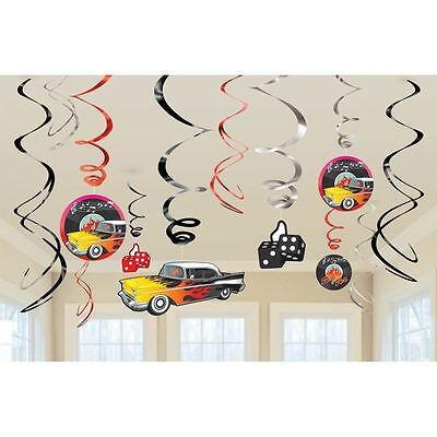 Classic 50's Themed Party Swirl Decorations Rock & Roll 1950s Retro Supplies