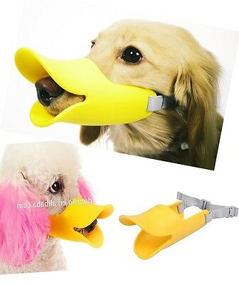 QUACKERS! Soft Silicone Dog Puppy Muzzle Duckbill Anti-barking Duck Mask Clothes