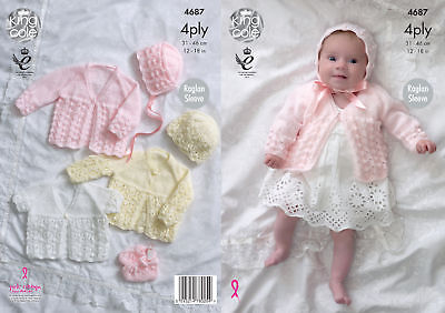 Knitting Pattern Baby Raglan Matinee Coats & Accessories King Cole 4 Ply 4687