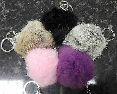 Real Angora Rabbit Fur Pom Pom Keyring Bag Charm Key Chain 8cm Various Colours
