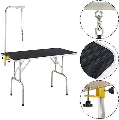 Pet Dog Cat Grooming Table Top Foam W/Arm and Noose Rubber Mat 47.5''