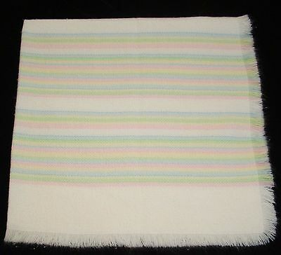 The Three Weavers Acrylic Stripe Baby Blanket Woven Pink Blue Green Yellow EXC