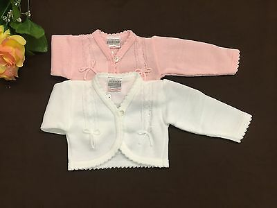 Baby Flower girls white pink bolero jacket shrug bow knitted cardigan NB-24 M