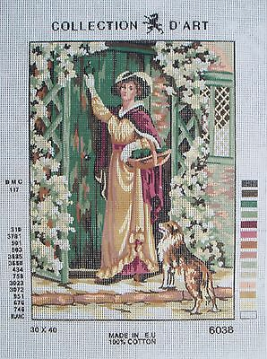 Needlepoint canvas-Woman and Dog  6.038 Collection d'Art  design 9 x 12
