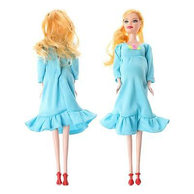 Educational Toy Real Pregnant Suits Mom Doll with Baby in Tummy Blue for Barbie
