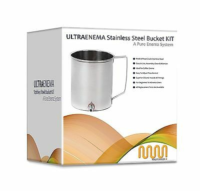 Ultra Enema Stainless Steel Bucket Kit With PVC Tubing. No Latex With Manual UFS