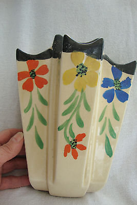 Art Deco Arthur Wood Hand Painted Floral Hanging Wall Pocket Sconse 3224