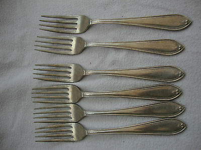 A Vintage Antique Set Of Six  Sheffield Stainless Nickle Plated Dessert Forks