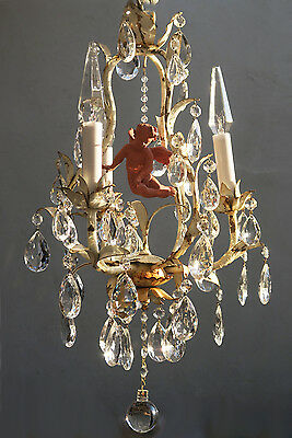 1o2 Chandelier French Italian Antique Shabby Tole Chic Vintage crystal Cherub