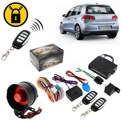 1-Way Car Vehicle Alarm & Keyless Entry Siren Security System 2 Remote with Box
