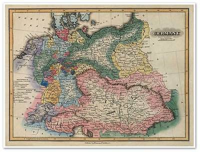 """Elegant Color Political Map of Old GERMANY by Fielding Atlas circa 1823 18""""x24"""""""