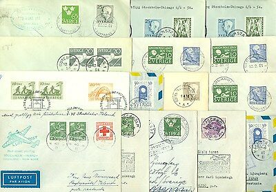 SWEDEN: Lot 21 airmail covers 1945-61.