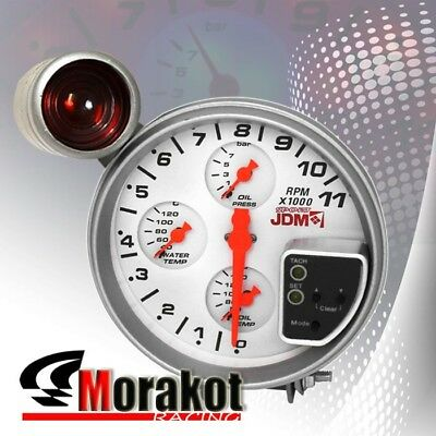 "Jdm Sport 4 In 1 5"" Inch (120MM) 11K RPM Tachometer Oil/Water Temp Gauge White"