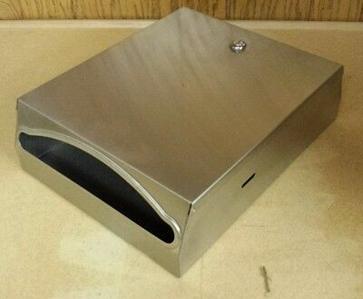USED Stainless Steel Wall Mount Paper Towel Dispenser with Lock & Key