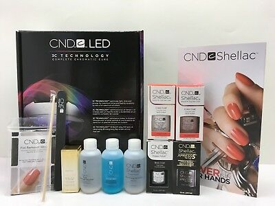 CND Shellac STARTER INTRO TRIAL KIT LED LAMP LIGHT  ANY 2 Gel + BASE,TOP +MORE