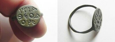 ZURQIEH -aa1514- LATE ROMAN/BYZANTINE AE RING (19X15MM). BEZEL INSCRIBED IN GREE