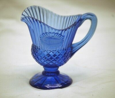 Mt. Veron George & Martha Washington Cobalt Blue Cameo Glass Pitcher by Avon