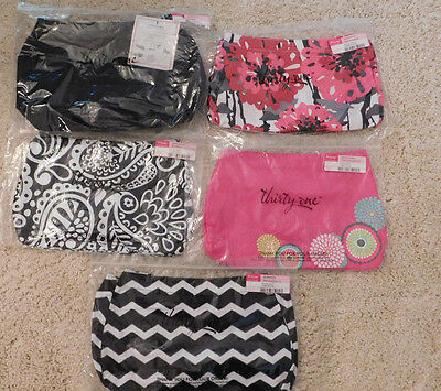 Thirty One 31 Suite Skirt Purse Black With 4 Covers Pink Black Bold Bloom Nip