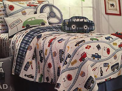 NEW! Charles Street ROAD TRIP 2PC Twin Quilt & Pillow Set Cars Transportation
