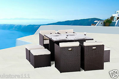 Qube 8 Seater Rattan Garden Furniture Sofa Dining Table Set Conservatory Outdoor