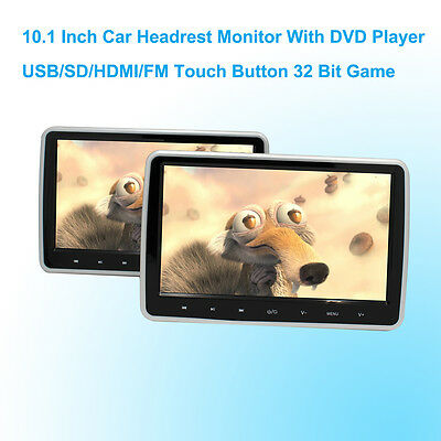 Car DVD Player Headrest Monitor 10.1 Inch LCD Monitor Headrest DVD Player  2 PCS