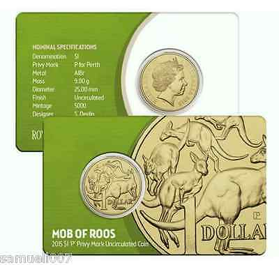 """2015 Australia $1 One Dollar Coin Mob of Roos """" P Privy Mark """" Uncirculated"""