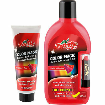 Turtle Wax Red Colour Magic Car Polish With Chipstick And Scratch Remover Set