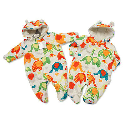 Bright Elephant Design Super Soft Padded Pram Suit Snowsuit by Nursery Time