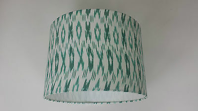 Handwoven Ikat Pattern Fabric Lampshade.Sea Green/White