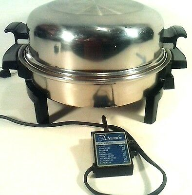 Vintage West Bend Liquid Core Electric Skillet Cooker Stainless Steel Dome Lid