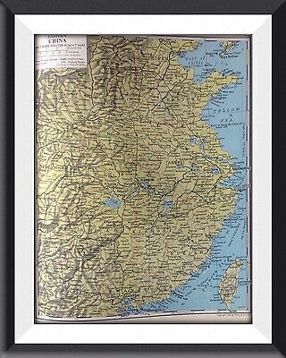 Eastern China Vintage Map c1960 Original Perfect For Framing - m1
