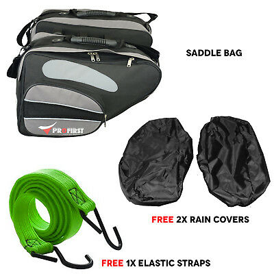 Extendable Motorbike Motorcycle Luggage Saddle Bag Pocket Pannier Waterproof 60L