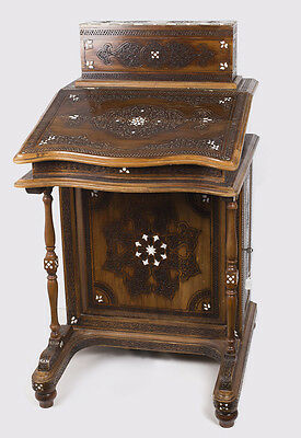 SYRIAN, Moorish, Middle Eastern INLAID HARDWOOD Desk. Size 45 inches high x 26 i