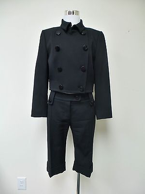 GIVENCHY Black Wool Cropped Jacket and Short Cuffed Pants sz. 42